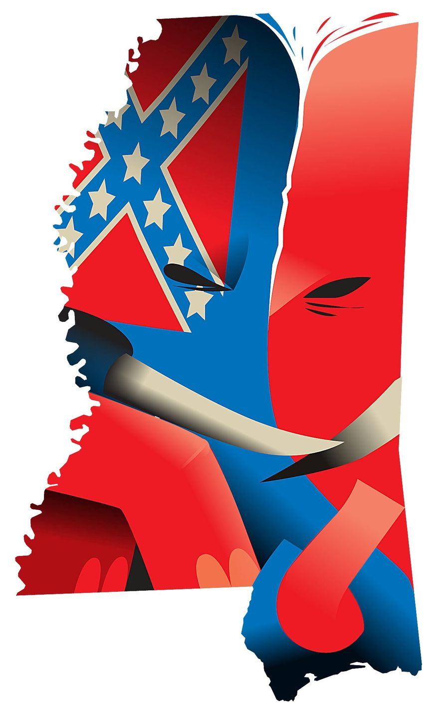 Illustration on GOP infighting in Mississippi by Linas Garsys/The Washington Times
