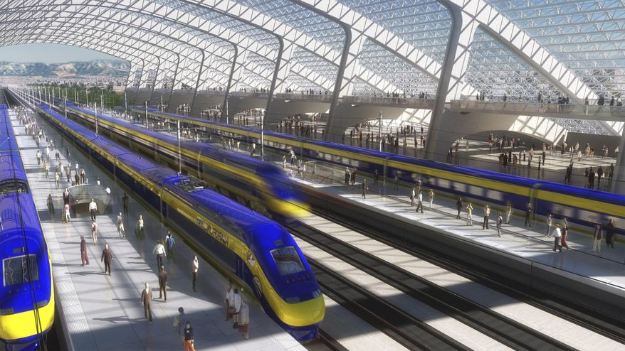 FILE - This image provided by the California High Speed Rail Authority shows an artist's rendering of a high-speed train station. In the latest challenge to California's $68 billion high-speed-rail project, Kings County and a group of its residents filed another lawsuit against the bullet train Thursday, June 5, 2014, alleging continued violations of California's Environmental Quality Act and several other state laws. (AP Photo/California High Speed Rail Authority, File)