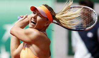 Russia's Maria Sharapova returns the ball to Canada's Eugenie Bouchard during their semifinal match of  the French Open tennis tournament at the Roland Garros stadium, in Paris, France, Thursday, June 5, 2014. (AP Photo/Darko Vojinovic)