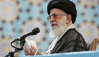 In this picture released by the official website of the office of the Iranian supreme leader, Supreme Leader Ayatollah Ali Khamenei addresses in a ceremony marking 25th death anniversary of the late revolutionary founder Ayatollah Khomeini at his shrine just outside Tehran, Iran, Wednesday, June 4, 2014. (AP Photo/Office of the Iranian Supreme Leader)