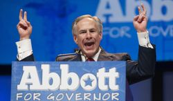 Texas Attorney General and Republican gubernatorial nominee Greg Abbott delivered what he called his Bicentennial Blueprint to the delegates of the Texas GOP Convention in Fort Worth, Texas Friday June 6, 2014..(AP Photo/Rex C. Curry)