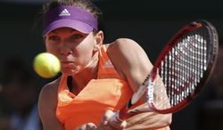 Romania's Simona Halep returns the ball during final of the French Open tennis tournament against Russia's Maria Sharapova at the Roland Garros stadium, in Paris, France, Saturday, June 7, 2014. (AP Photo/Michel Euler)