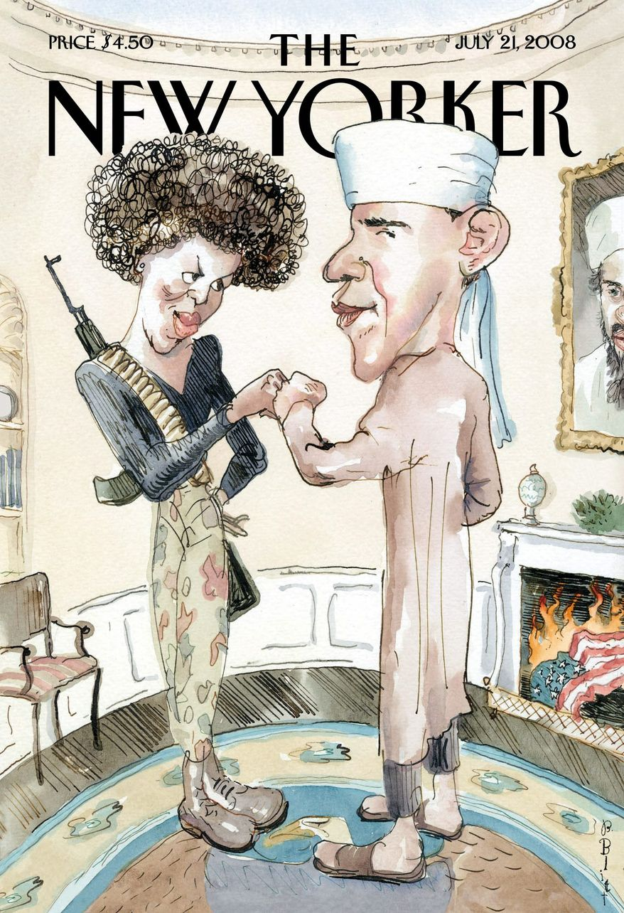 """During the heat of the 2008 fight to secure the Democratic presidential nomination, Barack Obama was depicted in terrorist garb with his wife on the cover of left-leaning New Yorker magazine. The full scope and reach of economic policies implemented since 2008 seem, in hindsight, a """"War on Capitalism.""""   (AP Photo/New Yorker, File)"""