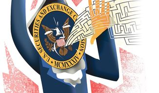 Illustration on unworkably complex SEC regulations by Linas Garsys/The Washington Times