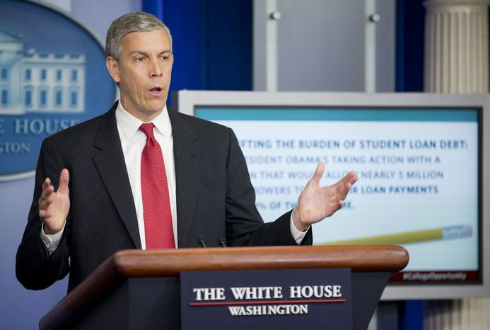 Education Secretary Arne Duncan speaks to members of the media in the Brady Press Briefing room of the White House in Washington, Monday, June 9, 2014. (AP Photo/Pablo Martinez Monsivais)