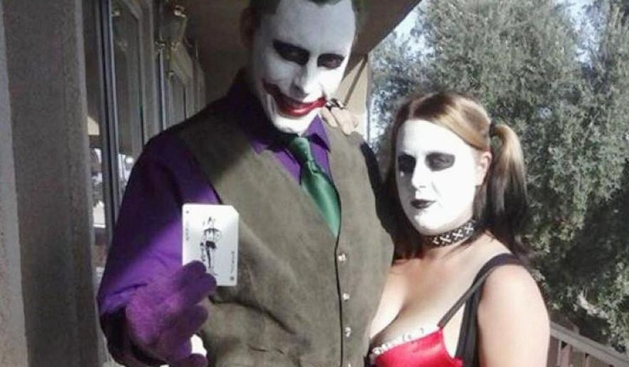 Jerad Miller dressed as the Joker and wife Amanda as Harley Quinn. The couple allegedly shot and killed 2 police officers and a civilian in Las Vegas. (Facebook)