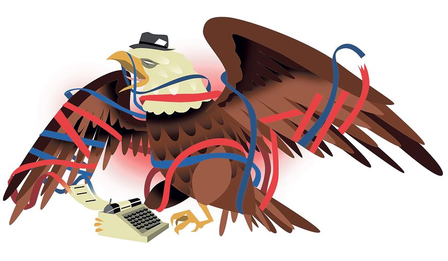 Illustration on how ideological entanglements undermine media veracity by Linas Garsys/The Washington Times