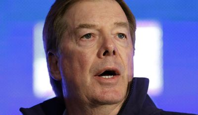 U.S. Olympic Committee Chairman Larry Probst speaks with reporters during a news conference Tuesday, Oct. 1, 2013, in Park City, Utah. (AP Photo/Rick Bowmer)