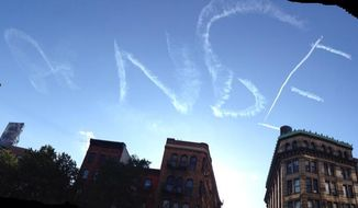"A Twitter user posted this photo of a skywriter's apparent attempt to write ""Rangers"" above Manhattan over the weekend."