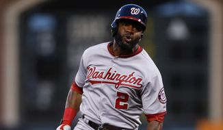 Washington Nationals' Denard Span runs after hitting a triple during the fourth inning of a baseball game against the San Francisco Giants, Monday, June 9, 2014, in San Francisco, Calif. (AP Photo/Beck Diefenbach)
