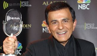 "** FILE ** In this Oct. 27, 2003, file photo, Casey Kasem poses for photographers after receiving the Radio Icon award during ""The 2003 Radio Music Awards"" in Las Vegas. A Los Angeles judge on Wednesday, June 11, 2014, reversed a previous ruling and said that doctors should not restore food or fluids to Kasem, who is in the final stages of life after battling dementia. (AP Photo/Eric Jamison, File)"