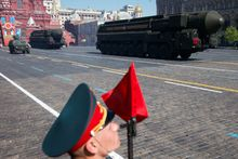 Russian intercontinental ballistic missile Topol-M rolls across Red Square during the Victory Day Parade, which commemorates the 1945 defeat of Nazi Germany in Moscow, Russia, Friday, May 9, 2014. Thousands of Russian troops march on Red Square in the annual Victory Day parade in a proud display of the nation's military might amid escalating tensions over Ukraine. (AP Photo/Pavel Golovkin)