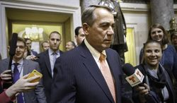 "House Speaker John Boehner of Ohio is pursued by reporters as he walks from his office through the Capitol in Washington, Wednesday, June 11, 2014, the morning after the stunning political defeat of House Majority Leader Eric Cantor of Va., by a tea party challenger in the Virginia primary. In a statement, Speaker John Boehner praised Cantor as ""a good friend and a great leader, and someone I've come to rely upon on a daily basis.""   (AP Photo/J. Scott Applewhite)"