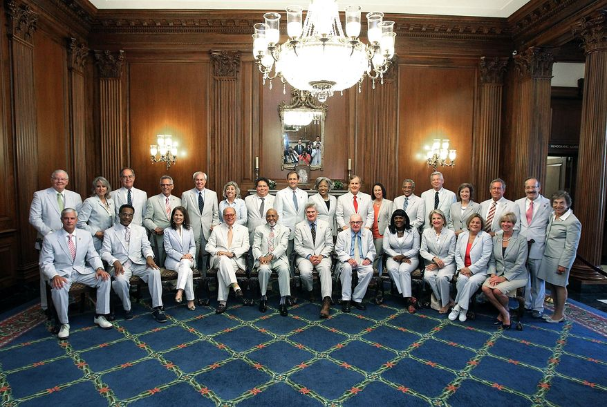 National Seersucker Day has been reinstated in the halls of Congress. Happy in their seersucker suits: 28 lawmakers assembled in the US. Capitol to celebrate the moment. (Photo courtesy of Rep. Bill Cassidy)