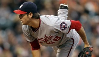 Washington Nationals' Doug Fister works against the San Francisco Giants in the first inning of a baseball game Tuesday, June 10, 2014, in San Francisco. (AP Photo/Ben Margot)