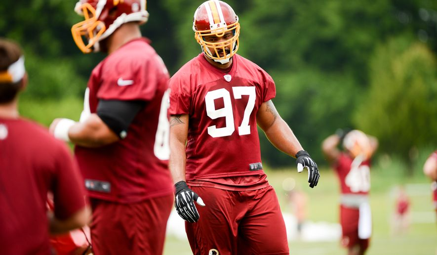 Washington Redskins defensive end Jason Hatcher (97) during organized team activities at Redskins Park, Ashburn, Va., Wednesday, June 11, 2014. (Andrew Harnik/The Washington Times)