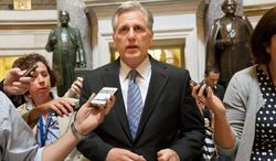 House Majority Whip Kevin McCarthy, California Republican, appears to have the inside track to replace Rep. Eric Cantor, Virginia Republican, as the House Majority Leader now that Rep. Pete Sessions, Texas Republican, has dropped out of the running. (Associated Press)