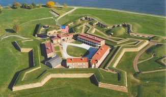 Though the original Star-Spangled Banner was taken down and preserved for posterity, Fort McHenry near Baltimore makes sure the American flag is still there. (Maryland Governor's office)