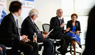 "Left to Right: Privacy and Civil Liberties Oversight Board Chairman David Medine, moderator and Washington Times Opinion Editor David Keene, Former NSA and CIA Director Gen. Mike Hayden, and American Civil Liberties Union (ACLU) Washington Legislative Office Director Laura W. Murphy, speak on a panel called ""Privacy in America: the NSA, the Constitution and the USA Freedom Act"" at the Microsoft Innovation and Policy Center, Washington, D.C., Thursday, June 12, 2014. (Andrew Harnik/The Washington Times)"