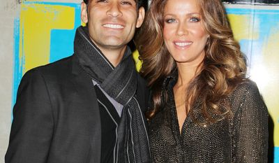"Soccer player Rafael Marquez and his wife Jaydy Michel Marquez attend the Broadway opening of ""Evita,"" starring Ricky Martin, at the Marriott Marquis Hotel on Thursday, April 5, 2012, in New York. (AP Photo/Starpix, Amanda Schwab)"