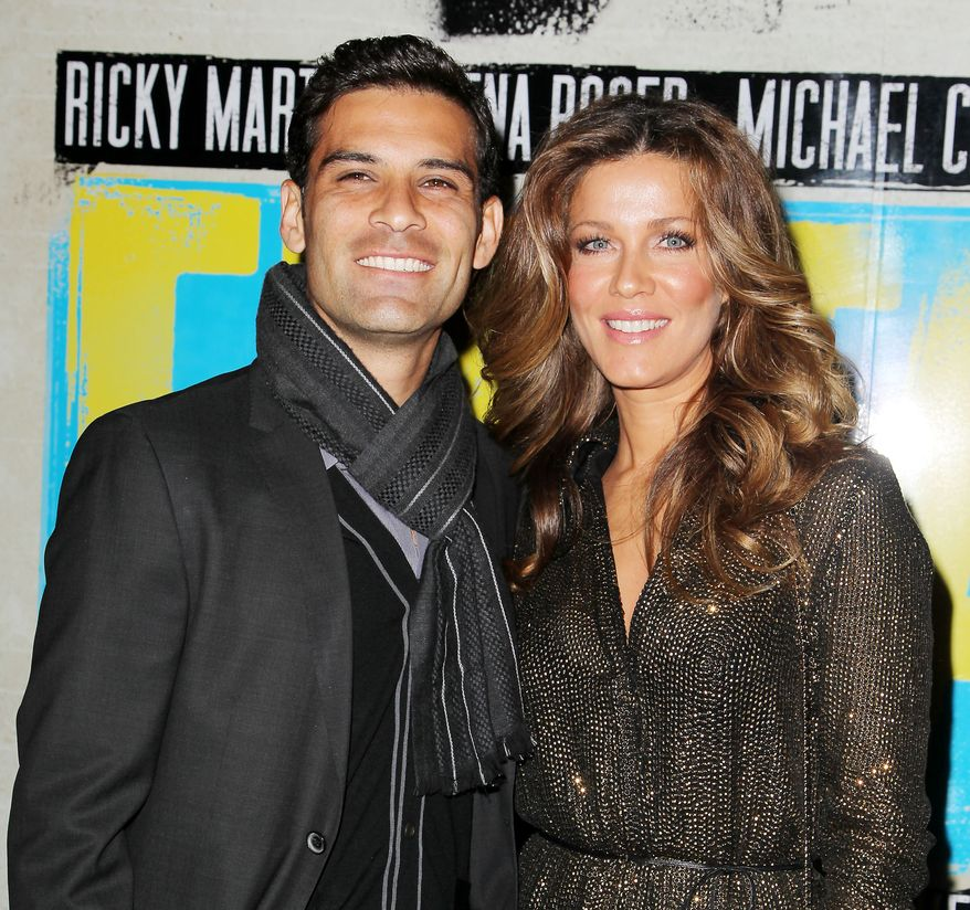 """Soccer player Rafael Marquez and his wife Jaydy Michel Marquez attend the Broadway opening of """"Evita,"""" starring Ricky Martin, at the Marriott Marquis Hotel on Thursday, April 5, 2012, in New York. (AP Photo/Starpix, Amanda Schwab)"""