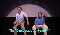 New Jersey Gov. Chris Christie dances onstage with Jimmy Fallon on The Tonight Show.
