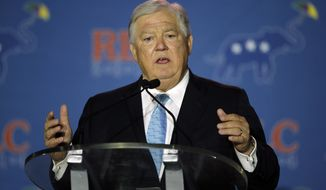 FILE - In this May 30, 2014, file photo, former Mississippi Governor Haley Barbour addresses the Republican Leadership Conference in New Orleans, La. Barbour probably isn't running for office again in Mississippi. But he's still a target in his home state's intense Republican Senate primary. Barbour is a former national Republican chairman and two-term Mississippi governor who now works at his influential Washington lobbying firm. He and several of his family members are driving six-term Sen. Thad Cochran's re-election campaign.  (AP Photo/Bill Haber, File)