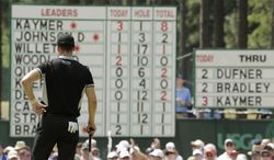 Martin Kaymer, of Germany, looks at his name on top of the leaderboard on the second hole during the second round of the U.S. Open golf tournament in Pinehurst, N.C., Friday, June 13, 2014. (AP Photo/Charlie Riedel)