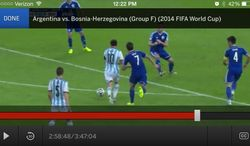This screen shot taken from the Watch ESPN mobile app shows action during a group F World Cup soccer match between Argentina and Bosnia-Herzegovina at the Maracana Stadium in Rio de Janeiro, Brazil, Sunday, June 15, 2014. (AP Photo/Watch ESPN)
