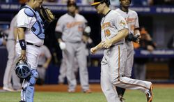 Baltimore Orioles' Chris Davis, right, touches home plate in front of Tampa Bay Rays catcher Jose Molina after his hit was ruled a grand slam off Rays pitcher Erik Bedard during the third inning of a baseball game Tuesday, June 17, 2014, in St. Petersburg, Fla. (AP Photo/Chris O'Meara)