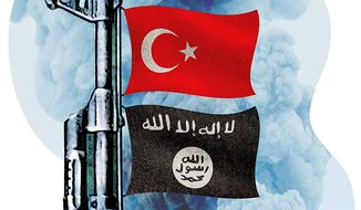 Turkey support for ISIS Illustration by Greg Groesch/The Washington Times