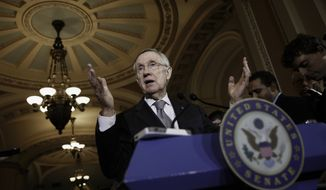Senate Majority Leader Harry Reid of Nevada speaks to reporters on Capitol Hill in Washington, Tuesday, June 17, 2014, after a Democratic caucus meeting. (Associated Press)