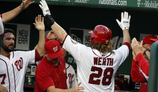 Washington Nationals' Jayson Werth (28) celebrates with his teammates including starting pitcher Tanner Roark, left, during the third inning of an interleague baseball game against the Houston Astros at Nationals Park Tuesday, June 17, 2014, in Washington. (AP Photo/Alex Brandon)