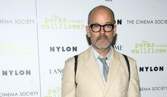 """Michael Stipe, the former frontman for the band R.E.M., attends """"The Perks of Being a Wallflower"""" premiere hosted by the Cinema Society and Lancome, in New York, in this Sept. 13, 2012, file photo. (Photo by Charles Sykes/Invision/AP, File)"""