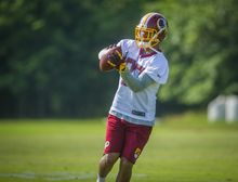 Washington Redskins wide receiver Cody Hoffman (87) pulls down a pass during mini camp practice at Redskins Park in Ashburn, Va., Wednesday, June 18, 20124. (Photo Rod Lamkey Jr.)