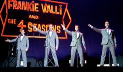 """This photo released by Warner Bros. Pictures shows, from left, John Lloyd Young as Frankie Valli, Erich Bergen as Bob Gaudio, Vincent Piazza as Tommy DeVito, and Michael Lomenda as Nick Massi in Warner Bros. Pictures' musical """"Jersey Boys,"""" a Warner Bros. Pictures release. (AP Photo/Courtesy Warner Bros., Keith Bernstein)"""