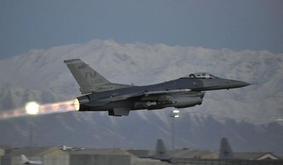 A U.S. Air Force F-16 Fighting Falcon takes off on a mission at dawn from Bagram Airfield, Afghanistan, Feb. 11, 2014. The aircraft and crews at Bagram are prepared to fly 24 hours a day. (U.S. Air Force photo by Senior Master Sgt. Gary J. Rihn/Released)