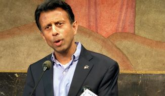 Louisiana Gov. Bobby Jindal speaks to during a news conference about his efforts to remove Louisiana from tests associated with the Common Core education standards on Wednesday, June 18, 2014, in Baton Rouge, La. (AP Photo/Melinda Deslatte)