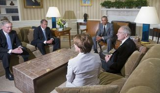 President Barack Obama meets with, from left, Senate Minority Leader Mitch McConnell of Ky., House Speaker John Boehner of Ohio, House Minority Leader Nancy Pelosi of Calif., and Senate Majority Leader Harry Reid of Nev., in the Oval Office of the White House in Washington, Wednesday, June 18, 2014. Obama briefed leaders of Congress on US options for blunting an Islamic insurgency in Iraq. US officials say Obama is not yet prepared to move forward with strikes and is instead focused on increased training for Iraq's security forces, boosting Iraqi intelligence capacities and upgrading equipment. (AP Photo/Pablo Martinez Monsivais)