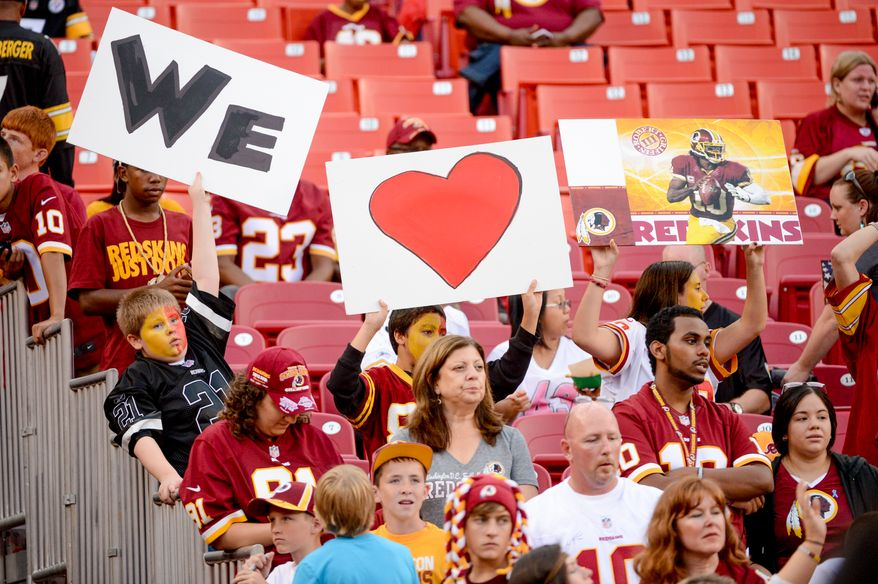 Washington Redskins fans hold up signs before the  Washington Redskins play the Pittsburgh Steelers in NFL preseason football at FedEx Field, Landover, Md., Monday, August 19, 2013. (Andrew Harnik/The Washington Times)