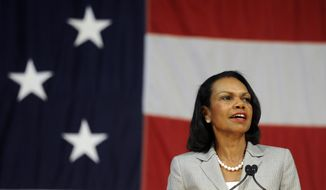 Former Secretary of State Condoleezza Rice addresses an audience on the campus of Norwich University, Thursday, June 19, 2014, in Northfield, Vt. (Associated Press) **FILE**
