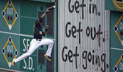Pittsburgh Pirates right fielder Gregory Polanco (25) can't get to a double off the right field wall by Cincinnati Reds' Joey Votto during the fourth inning of a baseball game in Pittsburgh Thursday, June 19, 2014. (AP Photo/Gene J. Puskar)
