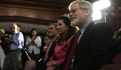 Sen. Diane Savino, D-Staten Island, left, and Assemblyman Richard Gottfried, D-Manhattan, listen to a speaker during a news conference announcing an agreement on legislation legalizing medical marijuana in New York in the Red Room at the Capitol on Thursday, June 19, 2014, in Albany, N.Y. A vote on the legislation is expected Thursday night when the legislative session is scheduled to end.  Savino and Gottfried sponsored the legislation in their respective houses. (AP Photo/Mike Groll)