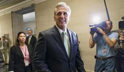 House Majority Whip Kevin McCarthy of Calif., arrives for GOP leadership elections, on Capitol Hill in Washington, Thursday, June 19, 2014. House Republicans elected McCarthy as majority leader, party's No. 2 post. (AP Photo/J. Scott Applewhite)