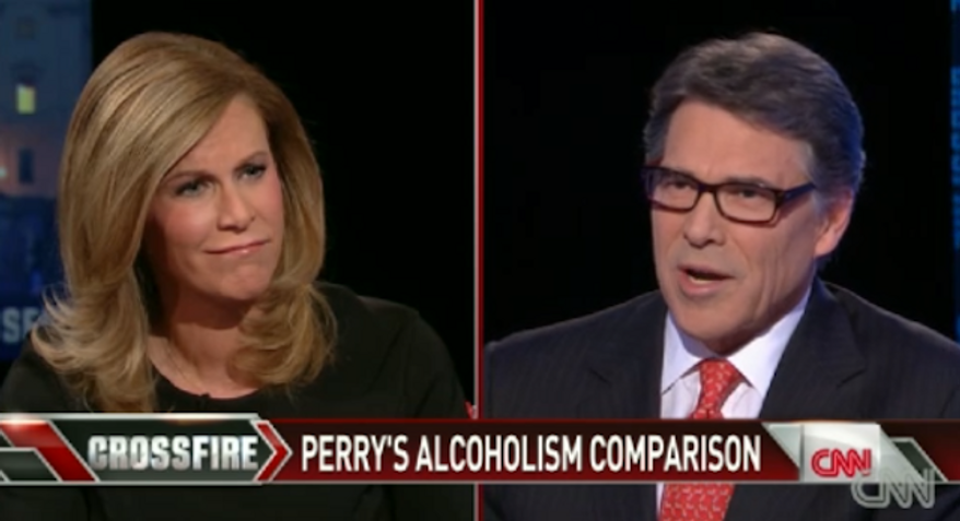 Texas Gov. Rick Perry is standing by recent comments he made comparing homosexuality to alcoholism. (CNN)