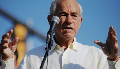 Former U.S. Rep. and presidential candidate Ron Paul speaks at a campaign rally for U.S. Senate candidate Chris McDaniel, Saturday, June 14, 2014, at Gander Mountain in Hattiesburg, Miss.(AP Photo/The Hattiesburg American, Kelly Price)