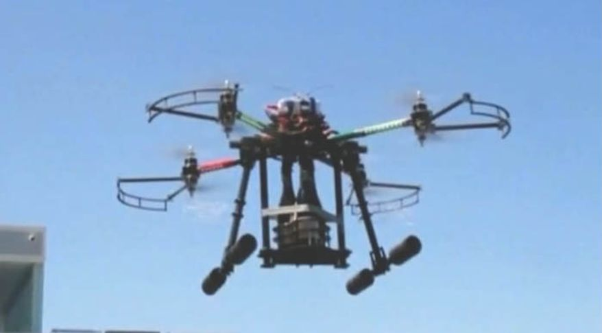 A champagne delivery drone in California. (Image: KXAN video screen shot)