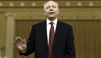 Internal Revenue Service (IRS) Commissioner John Koskinen is sworn in on Capitol Hill in Washington, Friday, June 20, 2014, prior to testifying before the House Ways and Means Committee hearing on whether tea party groups were improperly targeted for increased scrutiny by the IRS. The IRS asserts it can't produce emails from seven officials connected to the tea party investigation because of computer crashes, including the emails from Lois Lerner, the former IRS official at the center of the investigation who has invoked her Fifth Amendment right at least nine times to avoid answering lawmakers' questions.   (AP Photo/J. Scott Applewhite)