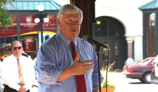 Former Mississippi Gov. Haley Barbour speaks in support of Sen. Thad Cochran, R-Miss., in Meridian, Miss., Friday, June 20, 2014. Cochran faces state Sen. Chris McDaniel on Tuesday in a Republican primary runoff. (AP Photo/The Meridian Star, Michael Stewart)