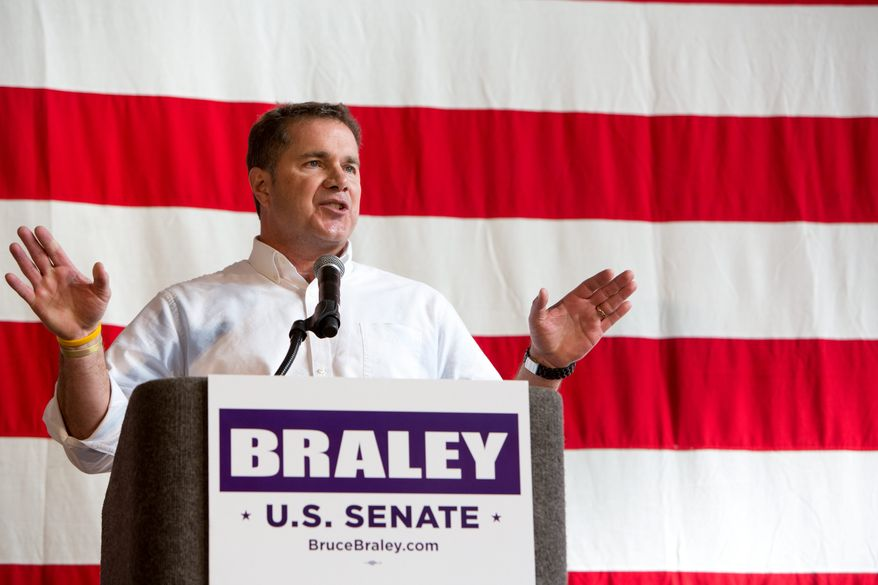 U.S. Senate candidate Bruce Braley speaks Sunday, Oct. 27, 2013, during the Bruce Blues & BBQ fundraiser for the Braley senate campaign at the Iowa State Fairgrounds in Des Moines, Iowa. (AP Photo/Scott Morgan)